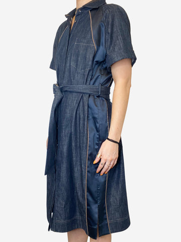 Denim short sleeve belted dress with bead and silk inserts- size L