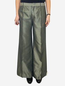 Olive green high shine trousers- size UK 14