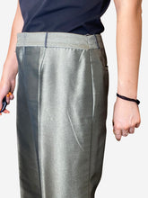 Load image into Gallery viewer, Olive green high shine trousers- size UK 14
