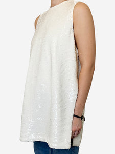 Cream sequin sleevless tunic with slit sides- size UK 8