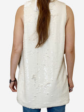 Load image into Gallery viewer, Cream sequin sleevless tunic with slit sides- size UK 8