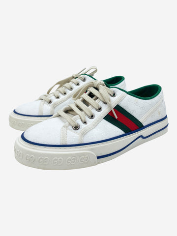 Cream, green and red Gucci Trainers, 4.5
