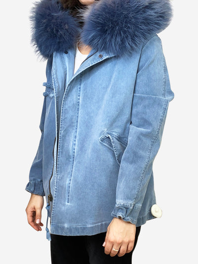 Blue denim long line jacket with full faux fur hood- size XS