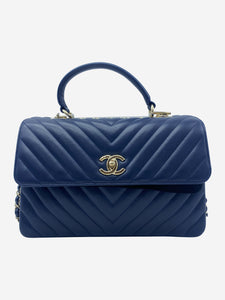Chanel Navy Coco chevron Trendy top handle flap bag