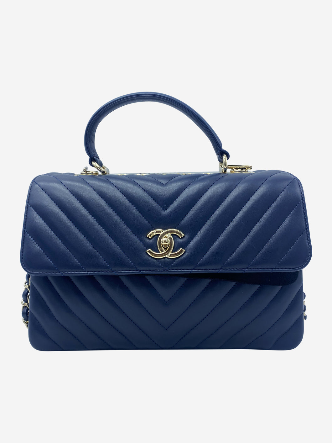 Navy Coco chevron Trendy top handle flap bag
