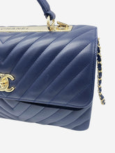 Load image into Gallery viewer, Navy Coco chevron Trendy top handle flap bag