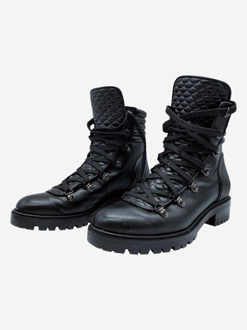 Black Mad leather combat ankle boots - size EU 37.5