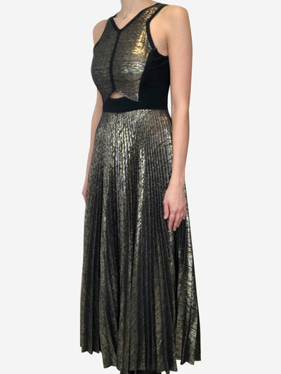 Black & gold panelled midi dress with cutout detail - size UK 8