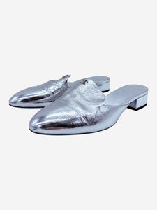 Chanel Silver slip on silver metallic mule - size 6