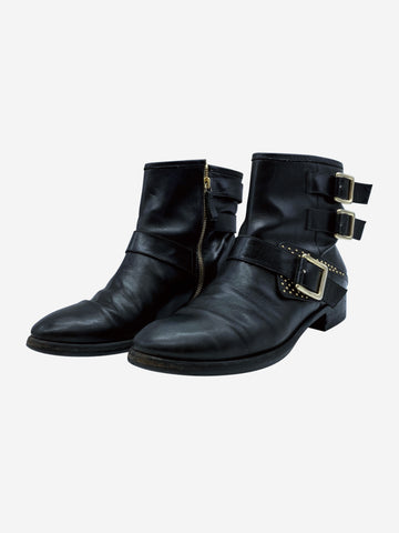 Black ankle boots with buckle and zipper- size EU 39