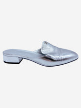 Load image into Gallery viewer, Silver slip on silver metallic mule - size 6