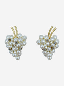Pearl and crystal grape clip on earrings