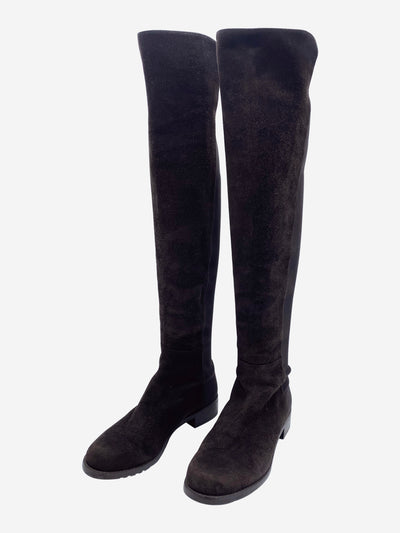 Brown suede over the knee boots with stretch panel- size EU 38