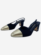 Load image into Gallery viewer, Black slingback shoes with gold toe cap - size EU 38.5