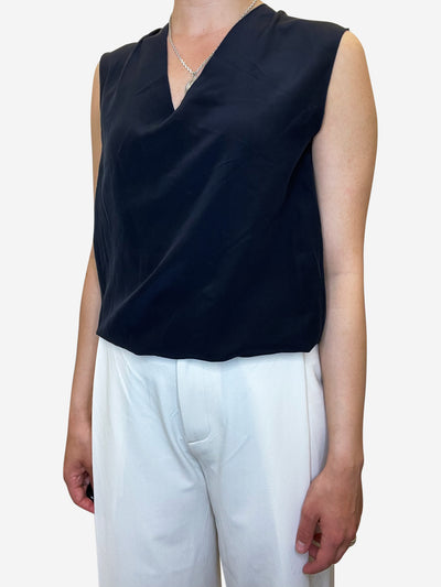 Navy sleeveless silk blouse top - size UK 10