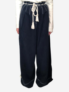 Ulla Johnson Navy wide leg trousers with rope belt - size UK 8