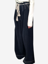 Load image into Gallery viewer, Navy wide leg trousers with rope belt - size UK 8