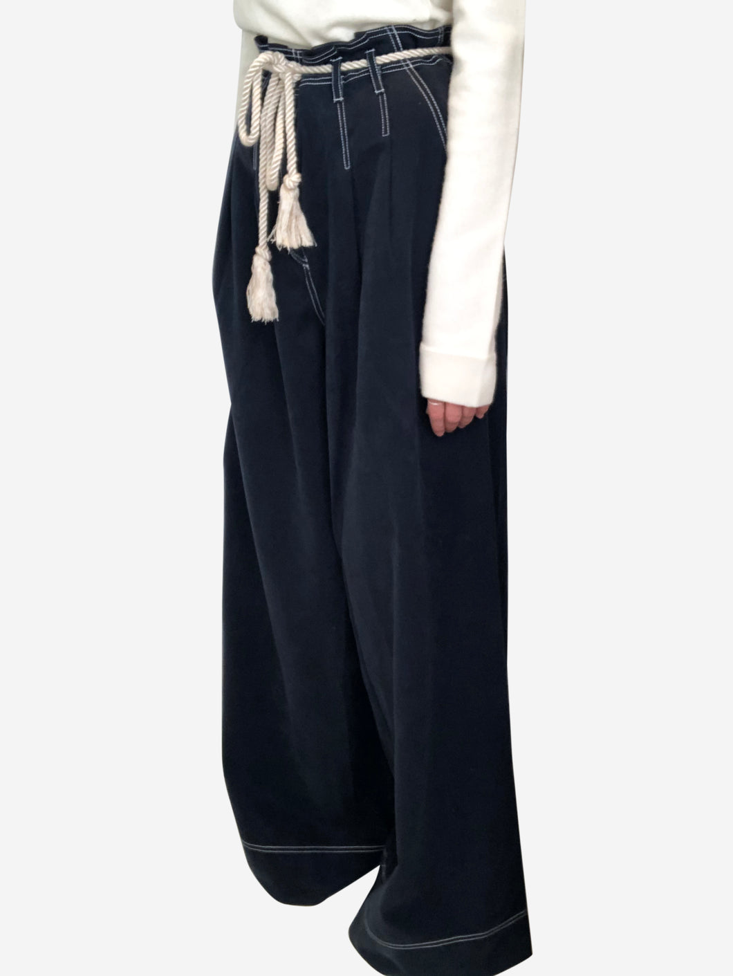 Navy wide leg trousers with rope belt - size UK 8