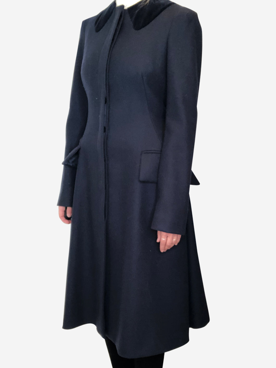Navy coat with velvet collar detail - size IT 42