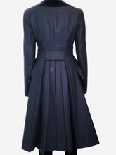 Load image into Gallery viewer, Navy coat with velvet collar detail - size IT 42