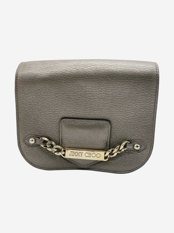 Grey and gold cross body bag
