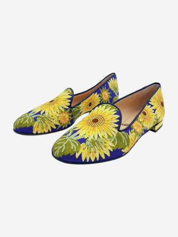 Blue and yellow embroidered floral sunflower loafers - size 36.5