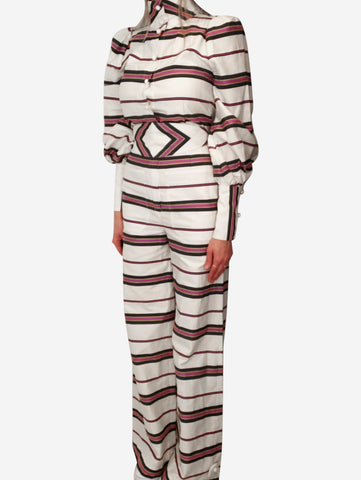 Cream striped Jane jumpsuit with belt - size 10