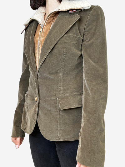Olive green cord jacket with built in suede and sheepskin bomber- size S