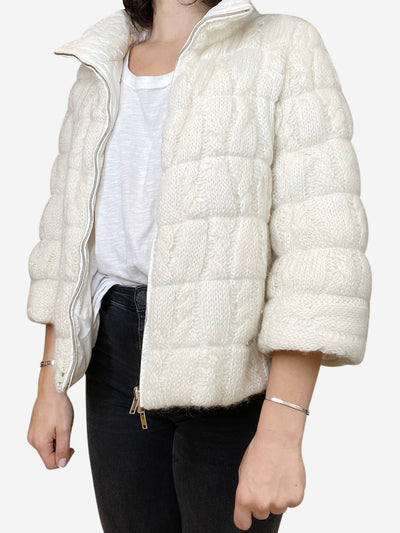 Cream reversible knit puffer jacket- size XS