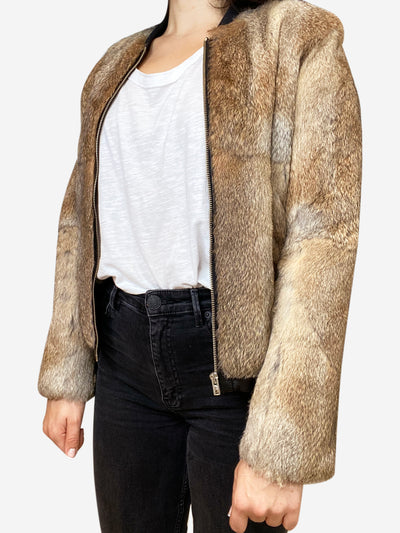 Brown fur bomber jacket- size XS
