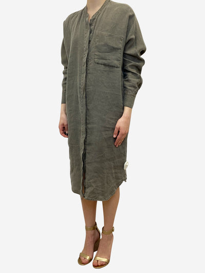 Khaki shirt dress - size S
