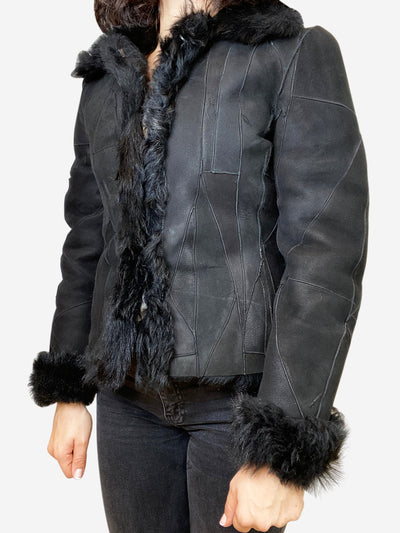 Black patchwork shearling jacket- size S