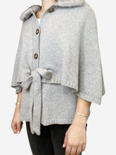 Load image into Gallery viewer, Grey cape cardigan with fur collar- size UK 8