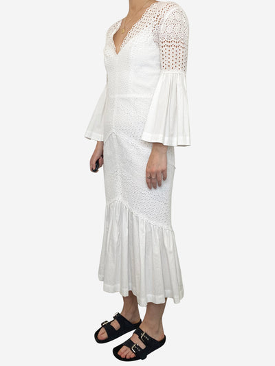 White broderie anglaise dress with peplum sleeve - size UK 10
