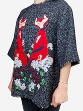 Load image into Gallery viewer, Grey Grey 3/4 sleeve fox applique top - size 12