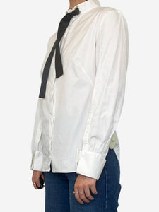 White long sleeve shirt with black ribbon collar - size FR 38