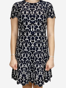 Black and white floral knit dress - size FR 38