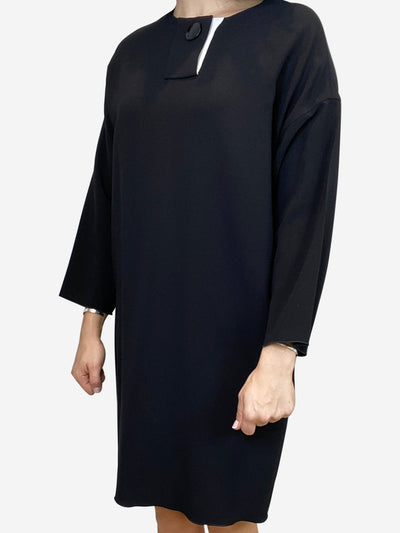 Black long sleeve single button dress - size FR 40