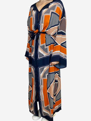 Orange and navy silk belted maxi dress - size XS