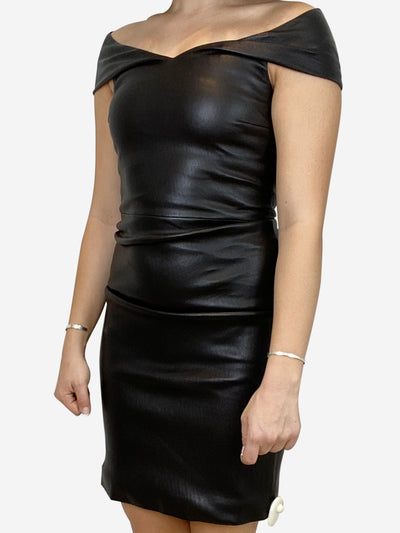 Black off the shoulder leather dress - size UK 8