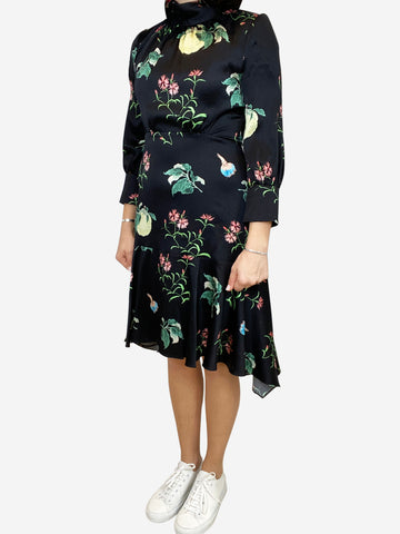 Black floral long sleeve dress - size S