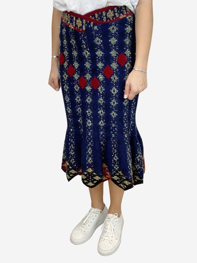 Navy, red and lurex fish tail midi skirt- size UK 10