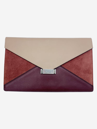 Burgundy and taupe diamond envelope clutch bag