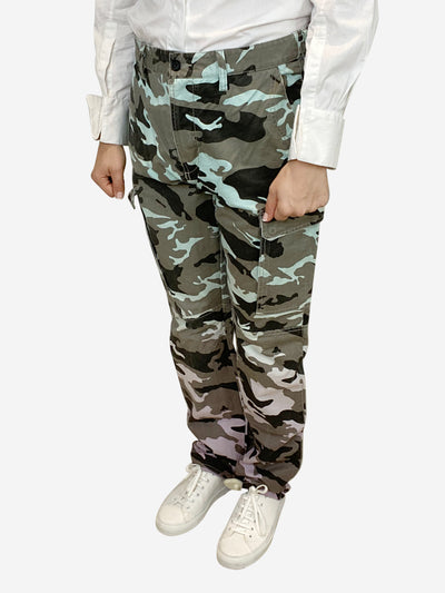 Turquoise baggy camo trousers - size 10