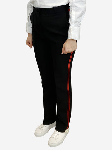 Black trousers with red side stripe- size UK 10