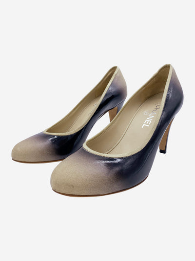 Black patent ombre gradient heels with round toe - size EU 40