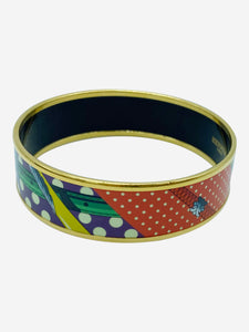Green, purple and gold enamel bangle