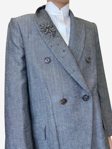 Brunello Cucinelli Grey double breasted blazer with brooch detailing - size IT 42