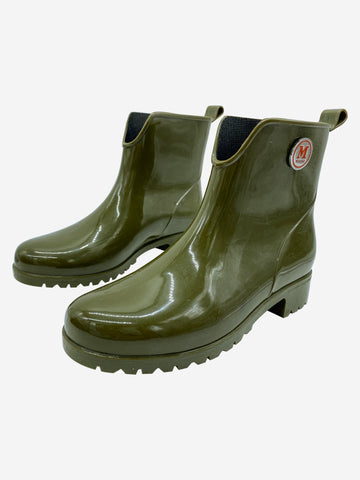 Olive green rubber ankle rain boots- size EU 36
