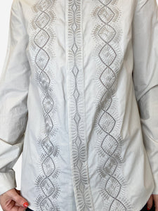 Chloe Neutral grey embroidered shirt - size FR 38